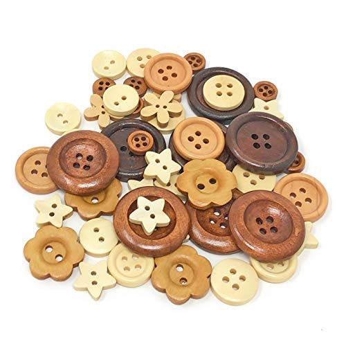 Wedding Touches 50 Mix Natural Shabby Chic Wood Buttons Craft Cardmaking Embellishments from Wedding Touches