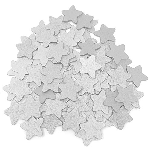 50pcs Silver 18mm Stars Wooden Shabby Chic Craft Scrapbook Vintage Wood Star from Wedding Touches