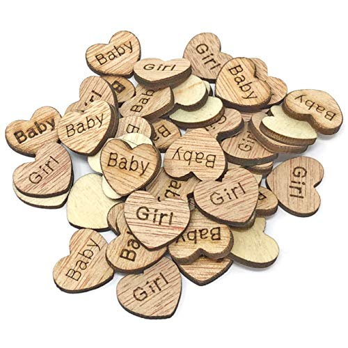 50x Baby Girl 15mm Hearts Wooden Shabby Chic Craft Scrapbook Embellishments Vintage Confetti Heart from Wedding Touches