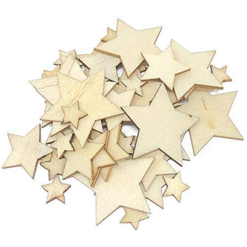 50x Mixed Size Natural Stars Plain Wooden Shabby Chic Craft Scrapbook Vintage Confetti Star from Wedding Touches