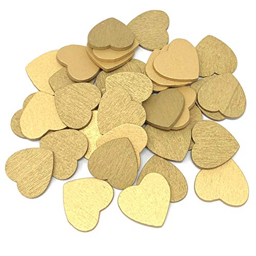 Gold 18mm Love Hearts Wooden Shabby Chic Craft Scrapbook Vintage Hearts (50) from Wedding Touches