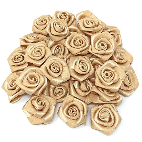 Gold 25mm Satin Ribbon Rose Flowers Decorative Craft Flowers (50) from Wedding Touches