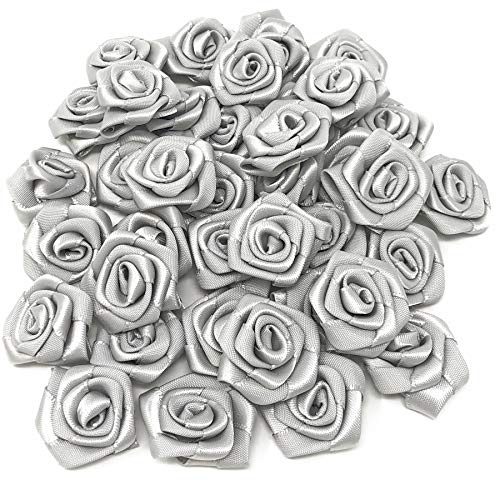 Grey 25mm Satin Ribbon Rose Flowers Decorative Craft Flowers (25) from Wedding Touches
