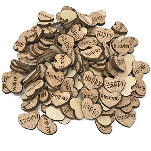 Happy Birthday 15mm Hearts Wooden Shabby Chic Craft Scrapbook Embellishments Vintage Confetti Heart (50) from Wedding Touches