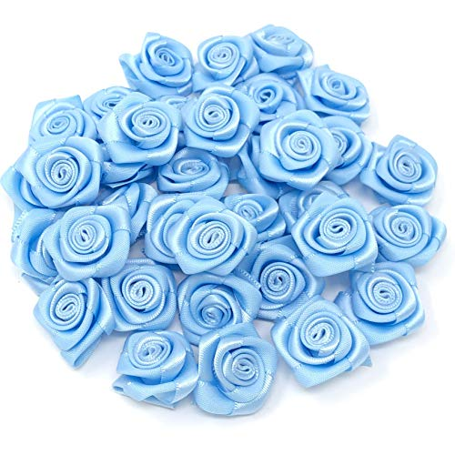 Light Blue 25mm Satin Ribbon Rose Flowers Decorative Craft Flowers (25) from Wedding Touches