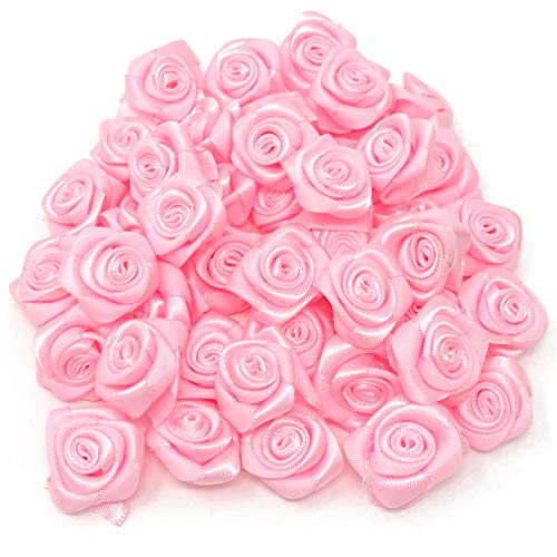 Light Pink 25mm Satin Ribbon Rose Flowers Decorative Craft Flowers (25) from Wedding Touches