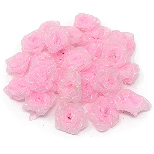 Light Pink Organza 25mm Satin Ribbon Rose Flowers Decorative Craft Flowers (10) from Wedding Touches