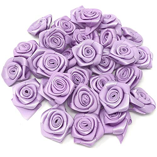 Lilac 25mm Satin Ribbon Rose Flowers Decorative Craft Flowers (10) from Wedding Touches