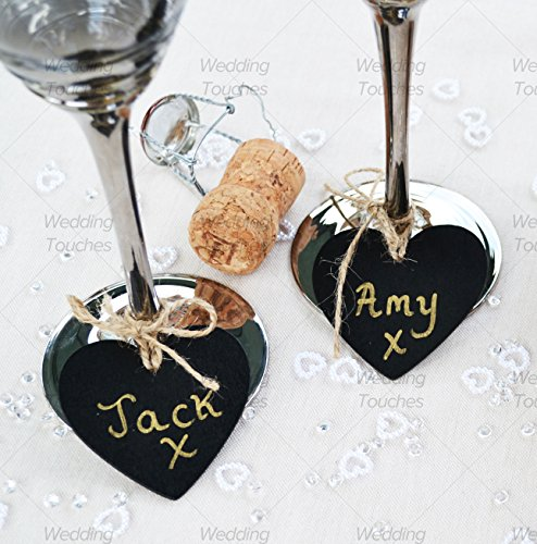 Mini Heart Wooden Chalkboard Pendant Perfect for Vintage Wedding Tables Place Names & Decoration (50) from Wedding Touches