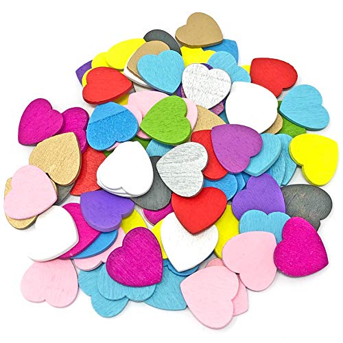 Multi Coloured 18mm Love Hearts Wooden Shabby Chic Craft Scrapbook Vintage Hearts (50) from Wedding Touches