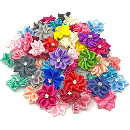 Multi Coloured 25mm Satin Ribbon Flowers with Rhinestone Diamante Centre, Craft Flowers (25) from Wedding Touches