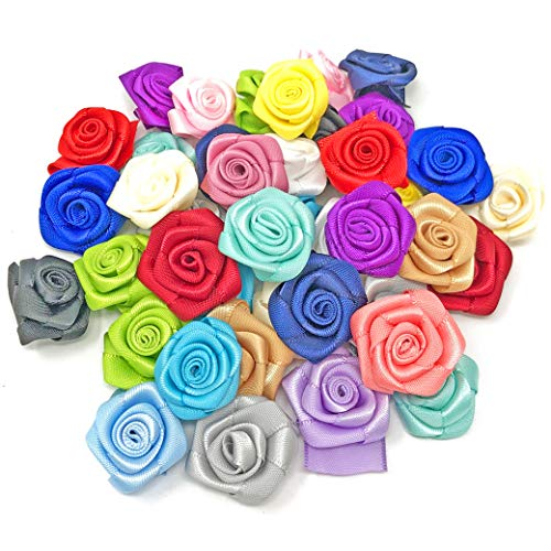 Multi Coloured 25mm Satin Ribbon Rose Flowers Decorative Craft Flowers (50) from Wedding Touches