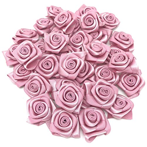 Pastel Pink 25mm Satin Ribbon Rose Flowers Decorative Craft Flowers (25) from Wedding Touches