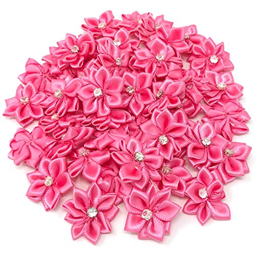Wedding Touches Pink 25mm Satin Ribbon Flowers with Rhinestone Diamante Centre, Craft Flowers (10) from Wedding Touches