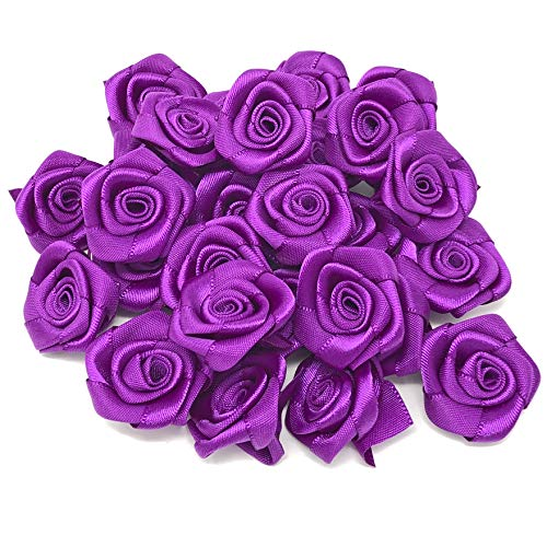 Purple 25mm Satin Ribbon Rose Flowers Decorative Craft Flowers (50) from Wedding Touches