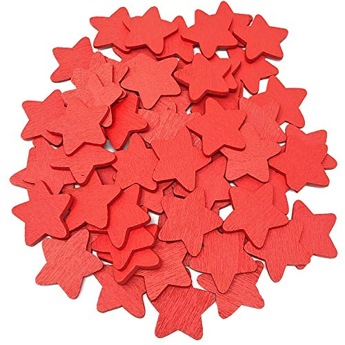 Red 18mm Stars Wooden Shabby Chic Craft Scrapbook Vintage Wood Star (50) from Wedding Touches