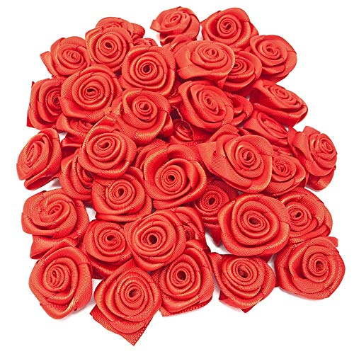 Red 25mm Satin Ribbon Rose Flowers Decorative Craft Flowers (25) from Wedding Touches