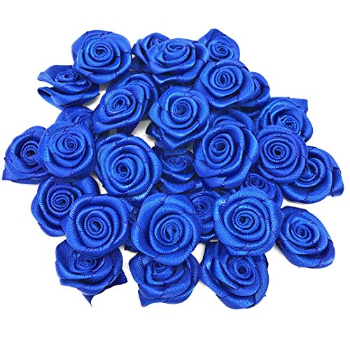 Royal Blue 25mm Satin Ribbon Rose Flowers Decorative Craft Flowers (25) from Wedding Touches
