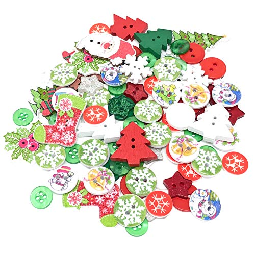 Wedding Touches 100 Mix Christmas Resin & Wood Xmas Buttons Flatbacks Craft Cardmaking Embellishments from Wedding Touches