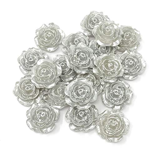 Wedding Touches 20x Silver 20mm Resin Rose Shabby Chic Flatbacks Craft Cardmaking Embellishments from Wedding Touches