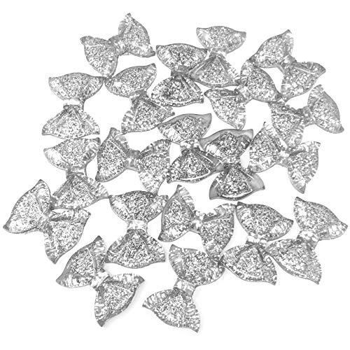 Wedding Touches 20x Silver 25mm Glitter Resin Bow Shabby Chic Flatbacks Craft Cardmaking Embellishments from Wedding Touches