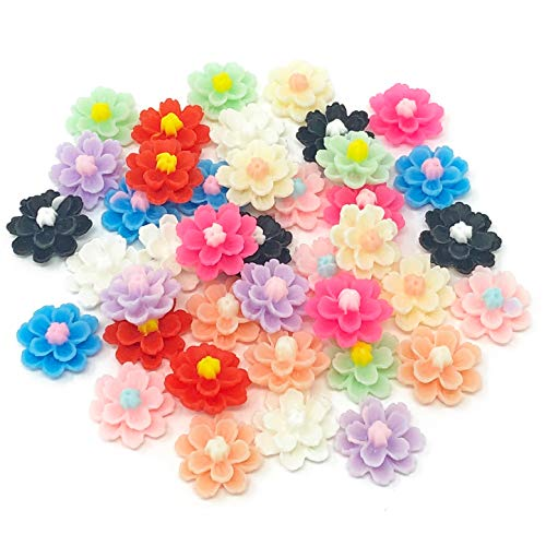 Wedding Touches 40x Multicoloured 13mm Flower Shabby Chic Resin Flatbacks Craft Embellishments from Wedding Touches