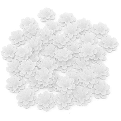 Wedding Touches 40x White 13mm Flower Shabby Chic Resin Flatbacks Craft Embellishments from Wedding Touches
