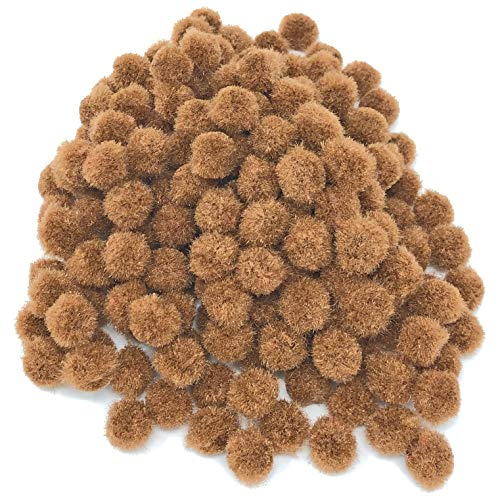 Wedding Touches Brown 10mm Mini Pom Poms Small Fluffy Craft Embelishments (100) from Wedding Touches