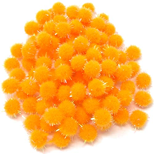 Wedding Touches Orange 10mm Glitter Mini Pom Poms Small Fluffy Craft Embellishments (100) from Wedding Touches