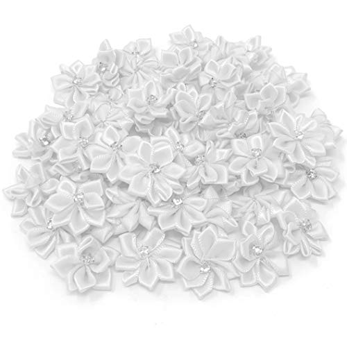 Wedding Touches White 25mm Satin Ribbon Flowers with Rhinestone Diamante Centre, Craft Flowers (10) from Wedding Touches
