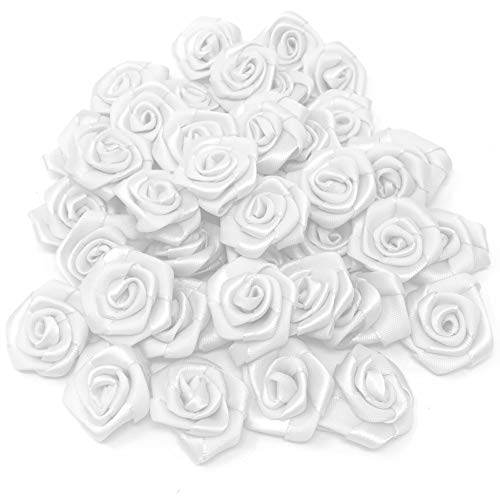 White 25mm Satin Ribbon Rose Flowers Decorative Craft Flowers (25) from Wedding Touches