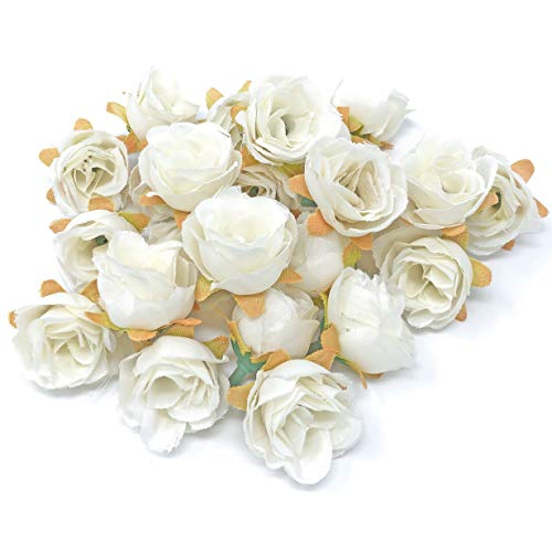 Wedding Touches White Rose Bud Decorative Synthetic Flowers (Faux Silk) Mini Rose Buds (25) from Wedding Touches