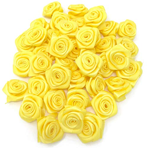 Yellow 25mm Satin Ribbon Rose Flowers Decorative Craft Flowers (100) from Wedding Touches