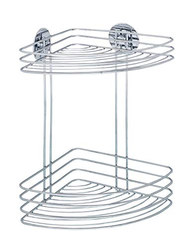 WENKO 18914100 Turbo-Loc corner rack - 2 shelves, fixing without drilling, Steel, 26.5 x 33 x 20 cm, Chrome from Wenko