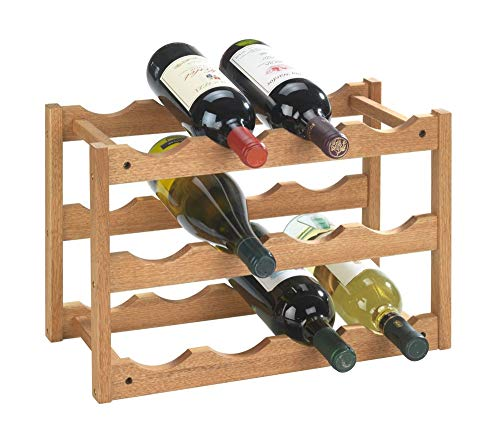 Wenko 18615100 Wine Rack Norway for 12 Bottles Made from Walnut 42 x 28 x 21 cm from Wenko