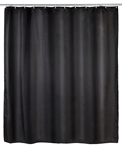 Wenko 20043100 Shower Curtain Textile Anti-Mould 180 x 200 cm Black from Wenko