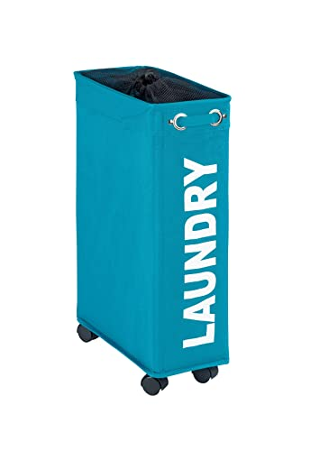 Wenko 3450116100 Corno Laundry Basket Polyester Petrol Blue/Turquoise 45 x 22 x 9 cm 43 L from Wenko