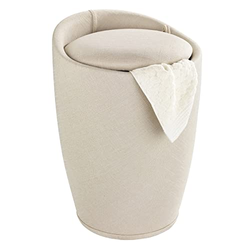 Wenko Bathroom stool Candy with linen look in beige, Polyester, 36 x 36 x 50.5 cm from Wenko