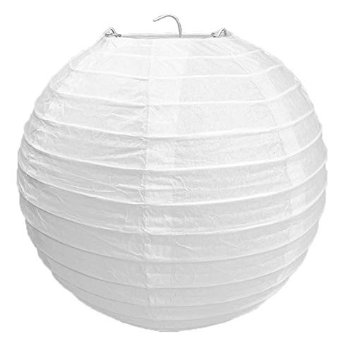 "BestMall White Round Paper Bamboo Style Ribbed Lampshade 30cm / 12"", 60 W from BestMall"