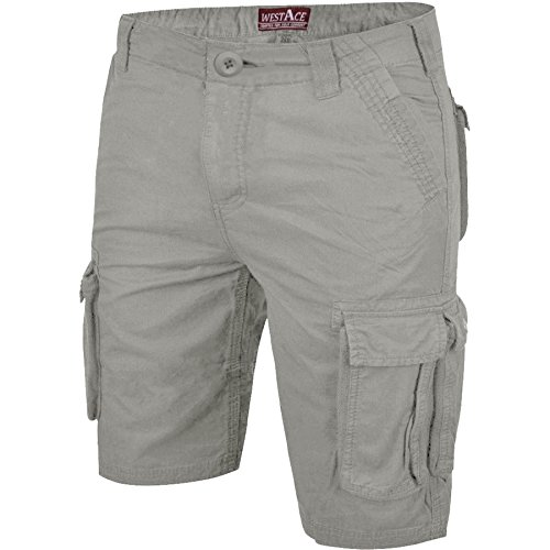 0ddead7382 WestAce Mens Casual Work Cargo Combat Shorts Cotton Chino Summer Half Pant ( Grey, 40