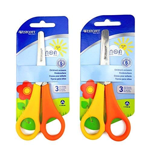 2 x Children's / Kid's Left Handed Scissors with Ruler Edge - Westcott Branded from Westcott