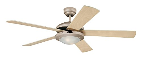 Westinghouse Ceiling Fans 78182 Comet One-Light 132 cm Five-Blade Indoor Ceiling Fan, Titanium Finish with Opal Frosted Glass from Westinghouse Ceiling Fans