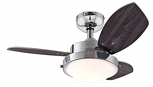 Westinghouse Ceiling Fans 78763 Wengue One-Light 76 cm Three-Blade Indoor Ceiling Fan, Chrome Finish with Opal Frosted Glass from Westinghouse Ceiling Fans
