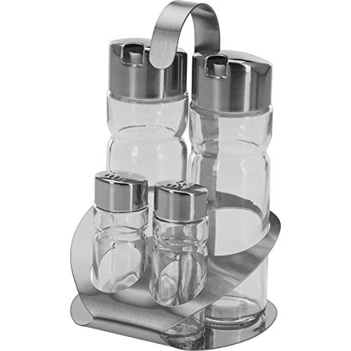 Westmark Salt, Pepper, Vinegar and Oil Caddy, 5 pieces, Volume: 2 x 40 ml / 2 x 160 ml, Stainless Steel/Glass, Wien, Silver/Transparent, 65052260 from Westmark