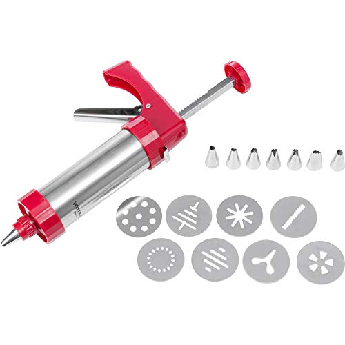 Westmark Cookie Press/Icing Syringe 250 ml, Stainless Steel, Silver/Red, 21.7 x 5.8 x 14.5 cm from Westmark
