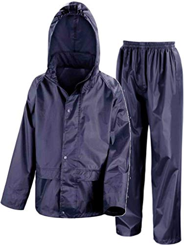 Kids Waterproof Jacket & Trousers Suit Set in Black, Navy Blue or Royal Blue Childs Childrens Boys Girls WR225J (3-4 Years, Navy Blue) from Wetplay