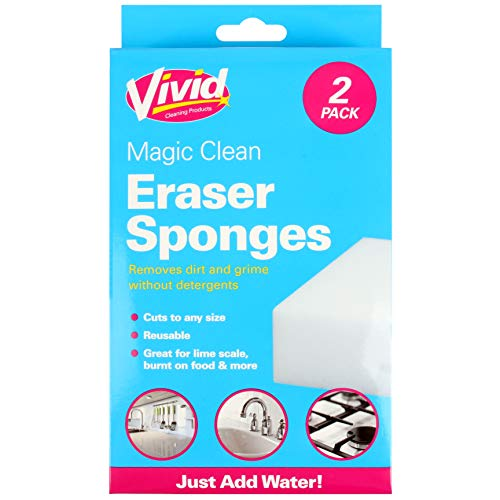 10x Magic Eraser Sponges All Purpose Melamine Foam Cleaner Scrubbers, Great for Limescale, Burnt-On Food & More! Reusable, Safe & Effective from White Hinge
