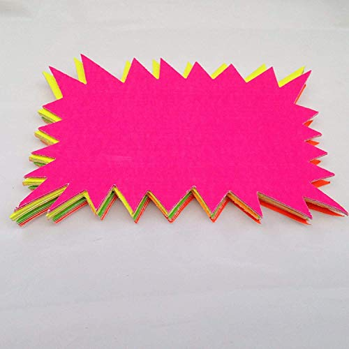 40x Large Neon Flash Stars - Fluorescent Rectangle Cards For Revision/Market Stalls from White Hinge