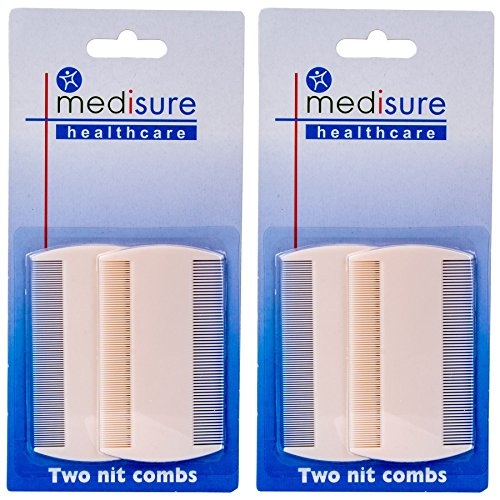 4Pc White Nit Combs, Removes Headlice, Lice & Eggs from Thick & Thin Hair from White Hinge