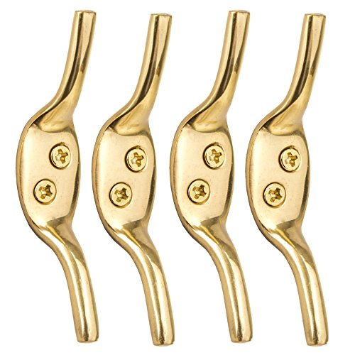 "4X Solid Brass 3"" Cleat Hooks - Roman Blind/Curtain Tie Backs - Washing Line Tie Downs from White Hinge"